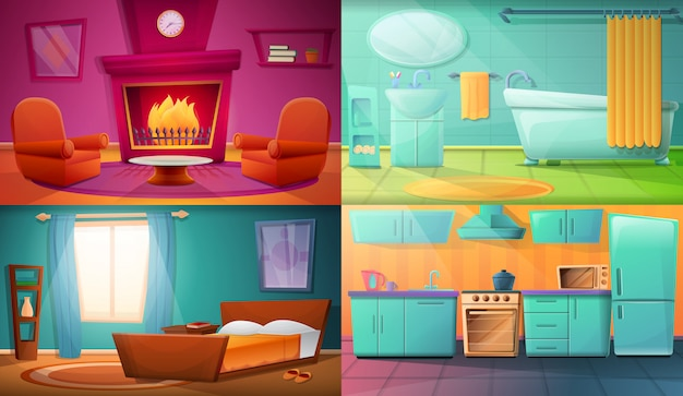Set of illustrations with different rooms of the apartment
