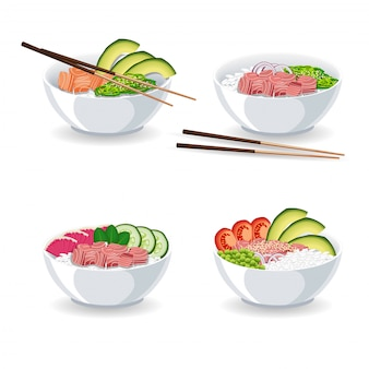 Set of illustrations with different types of poke bowl