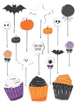 Set of illustrations with halloween clipart cupcakes and toppers in orange black and purple colors