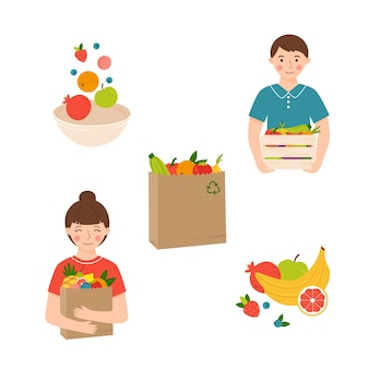Set of illustrations with healthy food concept hand-drawn in cartoon style