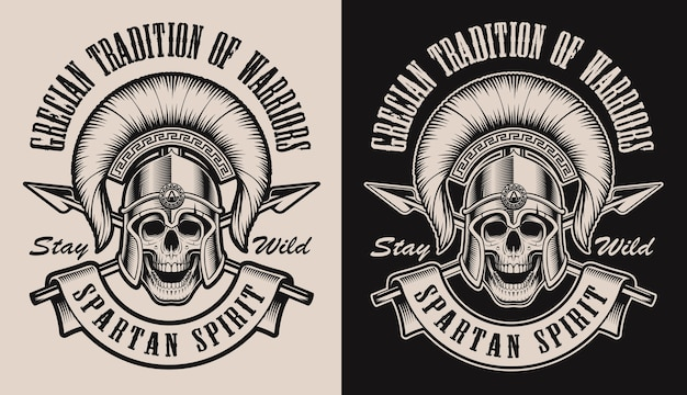 Set of illustrations with a skull in spartan helmet.