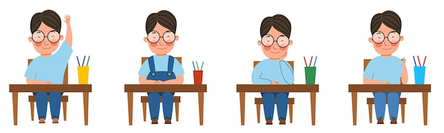 A set of illustrations with a student sitting at a classroom desk. an asian boy with glasses at the table raised his hand.