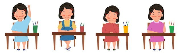 A set of illustrations with a student sitting at a classroom desk. the asian girl at the table raised her hand.