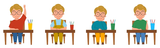 A set of illustrations with a student sitting at a classroom desk