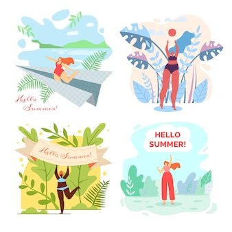 Set of illustrations with written hello summer.
