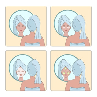 Set of illustrations of a woman with a towel on her head putting face creams in front of the mirror
