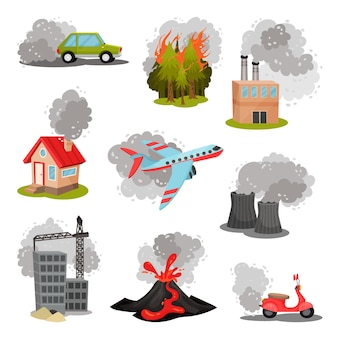 Set of images of air pollution sources