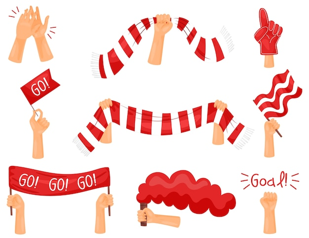 Set of images of attributes of fans. red and white colors. vector illustration on white background.