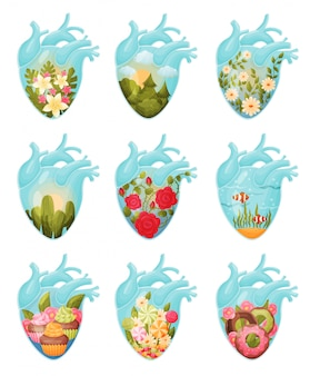 Set of images of flowers and sweets inside the heart.
