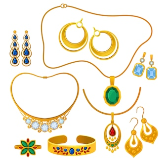 Set of images of gold jewelry.  illustration.