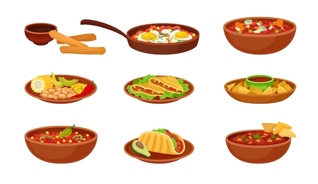 Set of images of mexican dishes