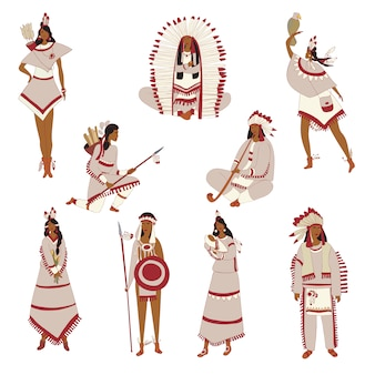Set of images of red indians.  illustration.