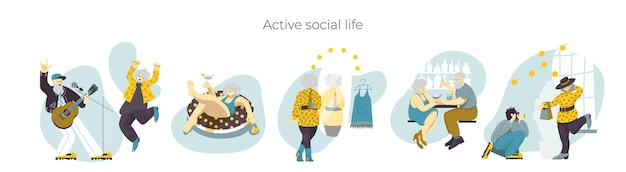 Set of images in trendy colours with elderly senior people enjoying social life modern pensioners