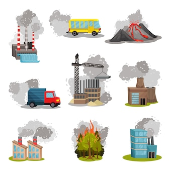 Set of images of various sources of air pollution