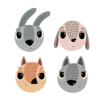 Set of images with animals hare, wolf, fox and sheep