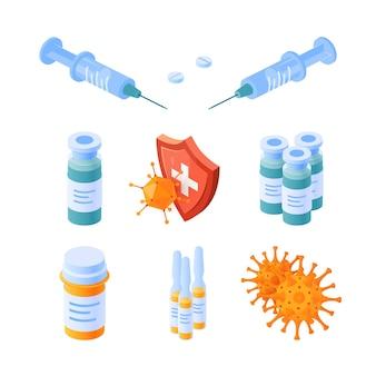 Set of immunity isometric icons.