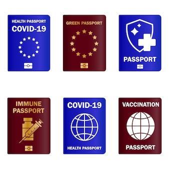 Set of immunity passports travel immune document checking immunization against diseases