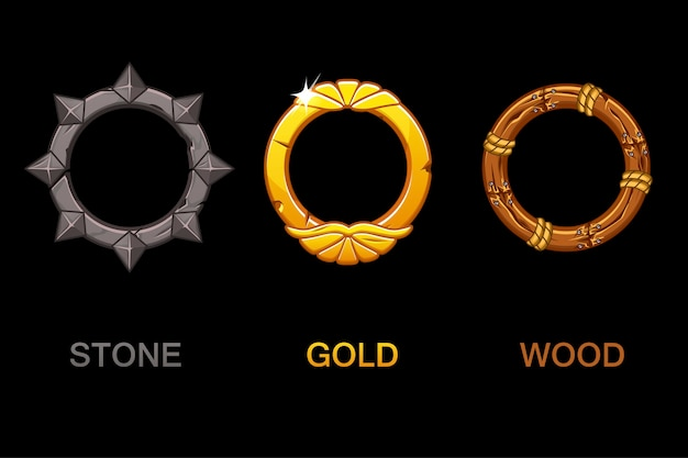 Set of improved circle app icons, texture frames isolated, elements for ui game or web design