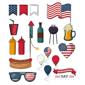 Set of independence day elements vector illustration