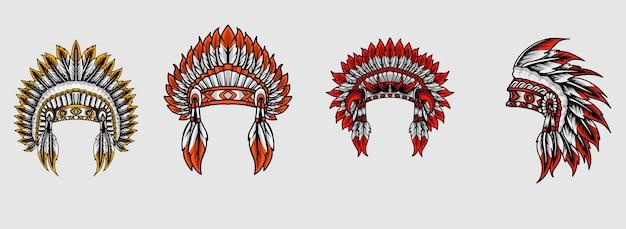 인도 아파치 모자 세트