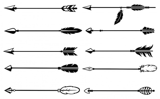 Set of indian arrows. collection of various ethnic tribal arrows with feather.