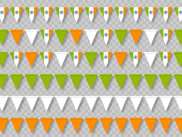 Set of indian bunting flags in traditional tricolor.