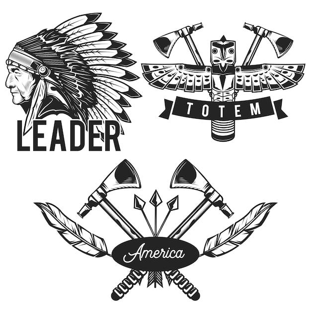 Set of indian emblems