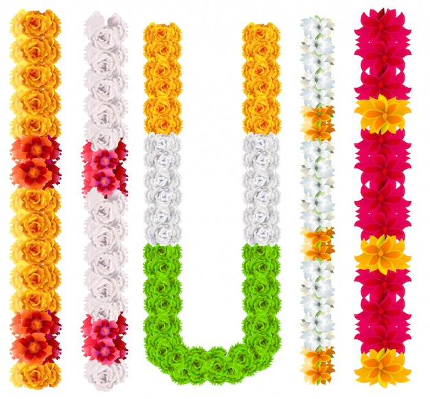 Set indian flower garland mala isolated on white