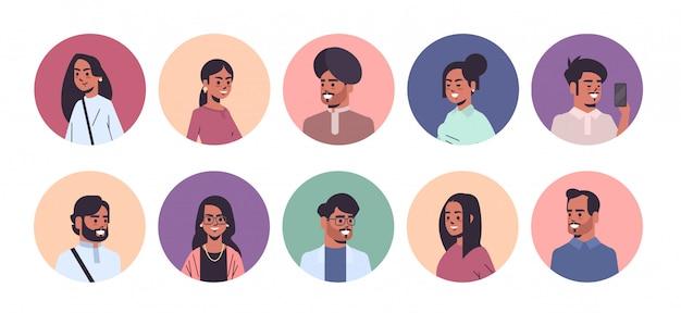 Set indian men women avatars smiling male female cartoon characters collection horizontal portrait