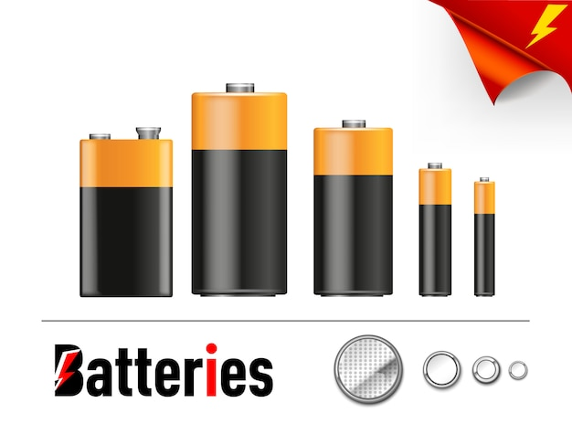 Set indicators of battery level different sizes. illustration icons