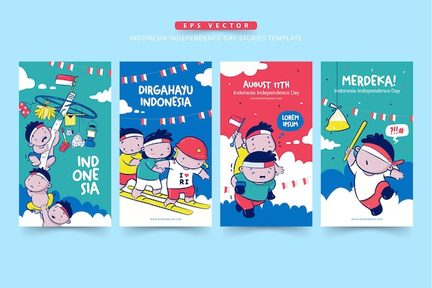 Set of indonesia independence day stories template with lomba or traditional game on august merdeka means independent dirgahayu means celebration