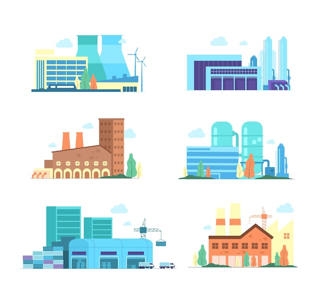 Set of industrial factory and manufacturing buildings