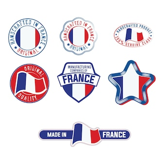 Set of industrial label with france flag product stickers