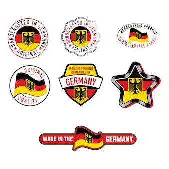 Set of industrial label with german flag product stickers
