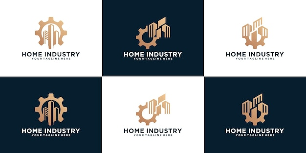 Set of industrial logos with gear and buildings