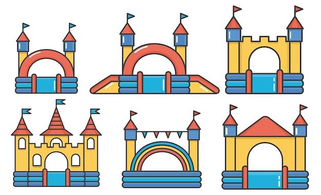 Set of inflatable bouncy castles and children hills on playground.
