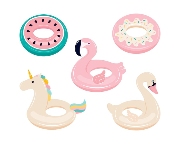 Set of inflatable floats for swimming in the shape of a flamingo, unicorn, swan, watermelon, donut. water and beach colorful rubber toys isolated on a white background. hand drawn  illustration