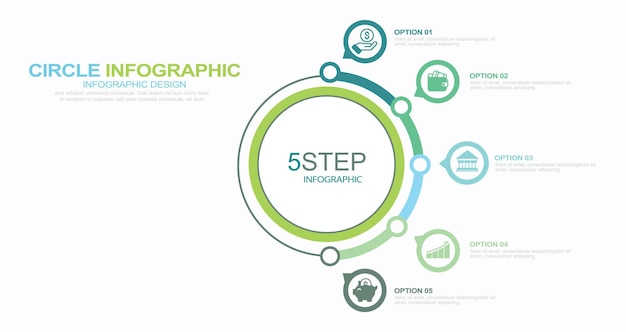 Set of infographic element stock illustration infographic number 5 steps circle flowing icon
