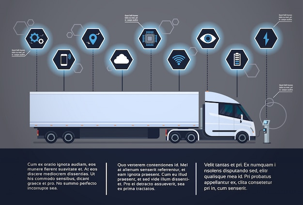 Set of infographic elements with modern semi truck trailer charging at electic charger station