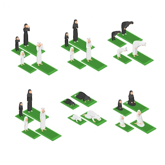 Set infographic isometric of muslim family praying together