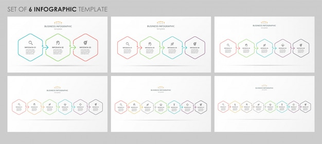Set of infographic linear design with icons and 3, 4, 5, 6, 7, 8 options or steps. business concept.