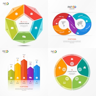 Set of infographic options templates