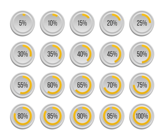 Set of infographic percentage pie charts isolated