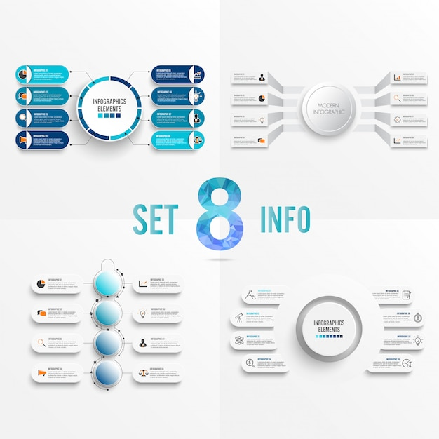 Set infographic template with 3d paper