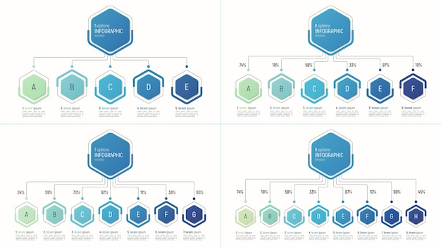 Set of infographic templates for data visualization.  options