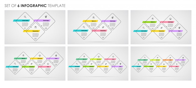 Set of infographic thin line design with icons and 3, 4, 5, 6, 7, 8 options or steps. business concept.