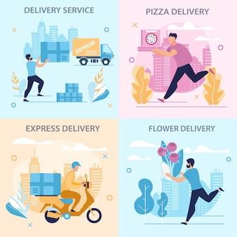 Set informational poster delivery service flat.
