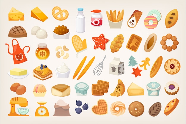 Set of ingredients for cooking bread. bakery icons.