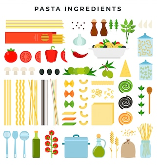 Set of ingredients for making pasta. different forms of pasta, products and tools for cooking.
