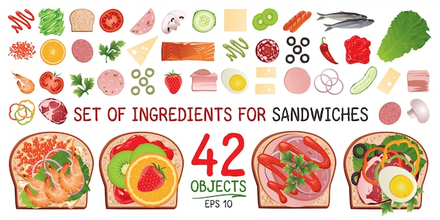 A set of ingredients for a sandwich.
